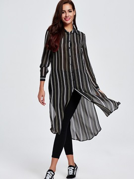 Simple Stripe Side-Slit Trench Coat