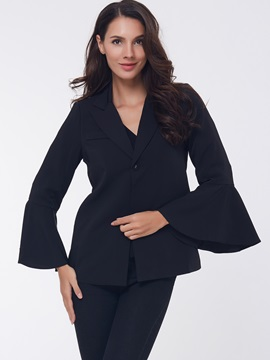 Stylish Plain Flare Sleeve Blazer