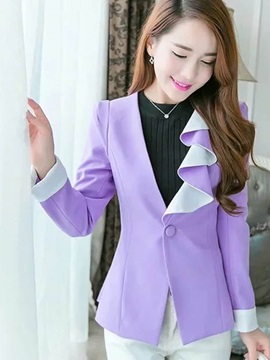 Stylish Ruffle Collar Slim Blazer