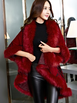 Chic Artificial Wool Decorated Collar Knitted Cape