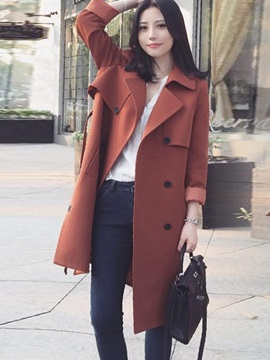Retro Style Plain Lace Up Long Trench Coat