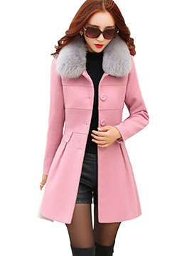 Stylish Multi Color Warm Collar Slim Overcoat