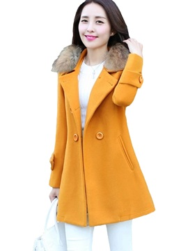 Warm Collar Solid Color Slim Overcoat