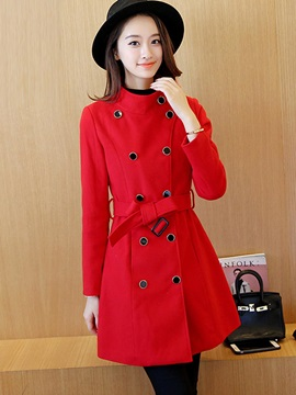 Stylish Multi Color Lace Up Overcoat