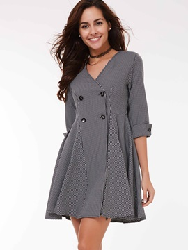Stylish Double-Breasted Peplum Slim Trench Coat