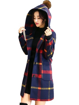 Stylish Plaid Hooded Slim Overcoat