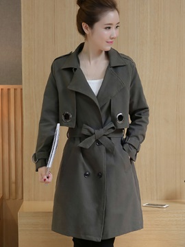Stylish Patchwork Slim Trench Coat
