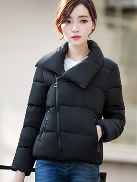 Stylish Zipper Lapel Cotton Overcoat