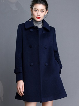 Stylish Double-Breasted Peplum Loose Overcoat