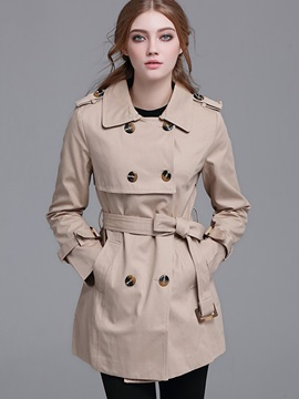 Stylish Double-Breasted Mid-Length Slim Trench Coat