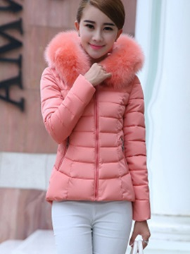 Stylish Faux Fur Collar Short Overcoat