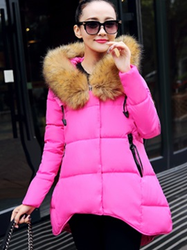 Stylish Faux Fur Collar Hemline Thick Overcoat