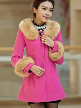 Stylish Fur Collar Wool Blends Overcoat