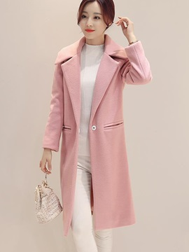 Stylsih Pure Color Slim Overcoat