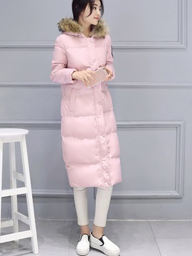 Stylish Faux Fur Hooded Long Cotton Overcoat
