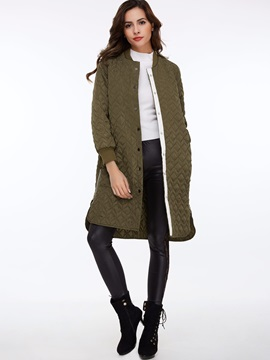 Stylish Pure Color Round Neck Overcoat