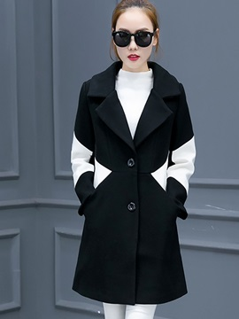 Stylish Color Block Mid-Length Straight Overcoat