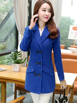 Chic Double-Breasted Mid-Length Slim Overcoat