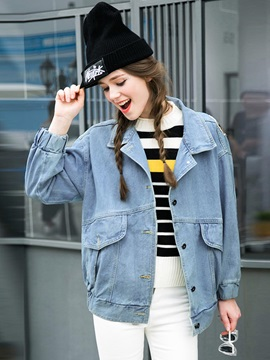 Stylish Appliques Denim Jacket