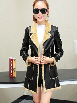Stylish Faux Fur Fleece PU Overcoat