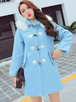 Stylish Horn Button Straight Overcoat