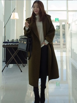 Stylish Loose Pure Color Overcoat