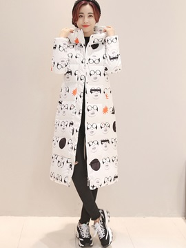 Stylish Imprinted Long Cotton Overcoat