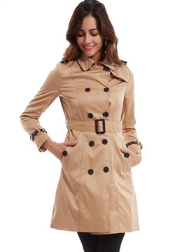 Stylish Plain Double-Breasted Trench Coat