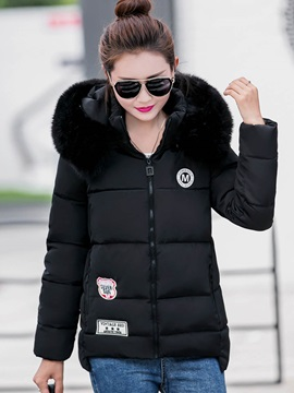 Stylish Appliques Straught Cotton Overcoat