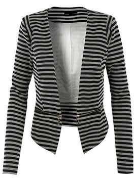 Stylish Zipper Stripe Blazer