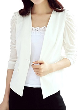 See-through Pleated Sleeves Work Blazer