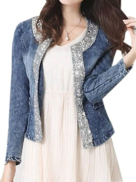 Stylish Sequins Decoration Collar Blazer