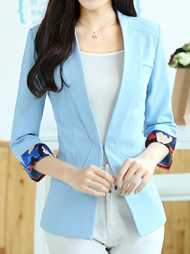 Stylish Floral Printed Cuff Slim Blazer