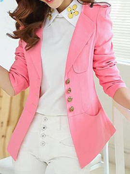 Stylish Button Pocket Decoration Blazer