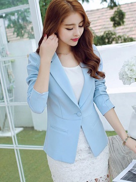 Simple Multi Color One Button Slim Blazer