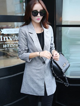 OL One Button Mid-Length Slim Blazer
