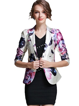 Stylish Flower Print Slim Blazer
