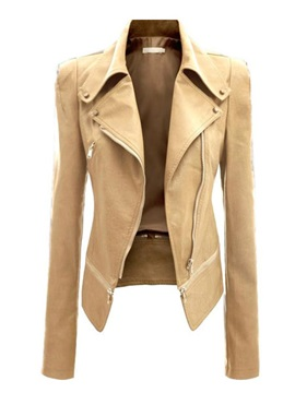 Zippered Turn-Down Collar PU Jacket