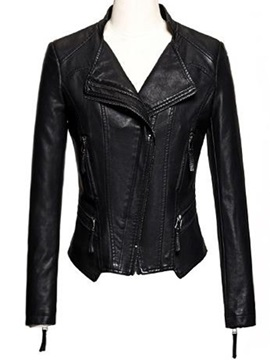 Chic Hem Zipper Decoration Short Jacket