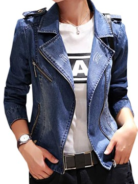 Stylish Denim Fabric Zipper Decoration Short Jacket