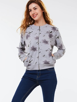 Stylish Flower Print Round Neck Jacket