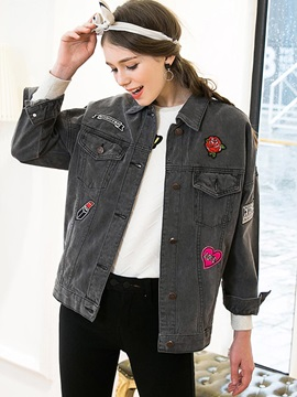 Stylish Appliques Loose Jacket