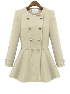 Solid Color Double Breasted Falbala Thick Overcoat
