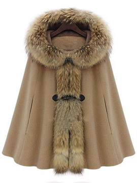 Cap Style Hooded Fur Collar Trench Coat
