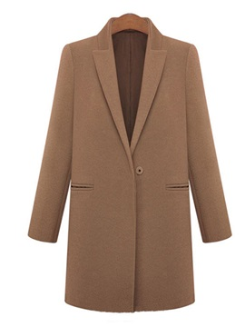 Chic  One  Button  Lapel  Trench  Coat