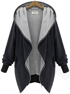 Casual Hooded Zipper Lapel Trench Coat