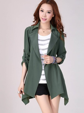 Stylish Roll Up Sleeve Loose Trench Coat