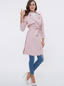 Stylish Lace Up Lapel Loose Trench Coat
