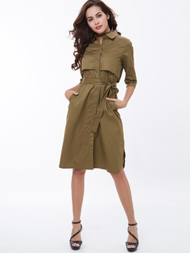 Vogue Single-Breasted Belt-Tied Trench Coat