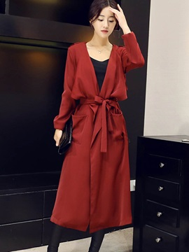 Stylish Solid Color Lace Up Long Trench Coat